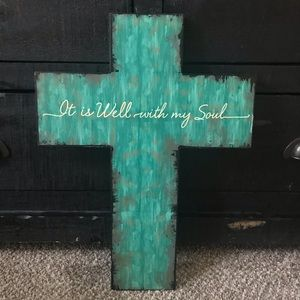 "Other - Turquoise Cross Soul Christian Wall Art 18"" high"